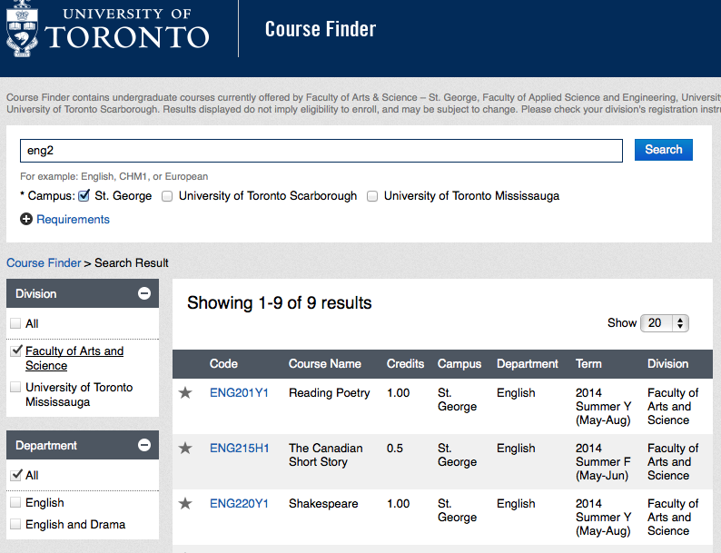 Course Finder search